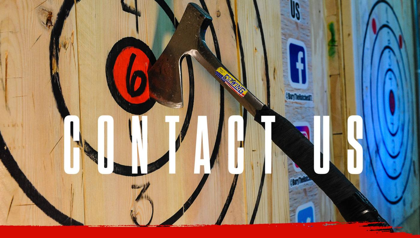 Bury The Hatchet Contact US Page Header Image. Image of Axe Stuck in Bulls Eye