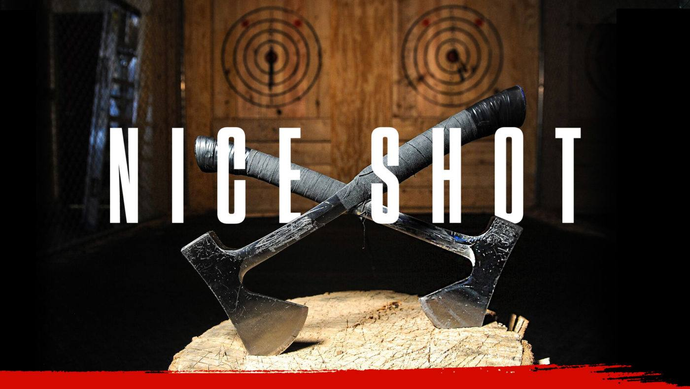 Home Page Header Image That Reads 'Nice Shot' with 2 axes crossed over eachother in front of two wooden targets