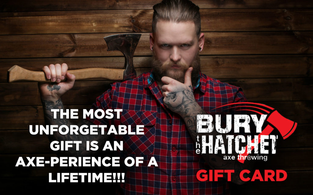 Gift Card Promotional Image with Man Holding An Axe Over Shoulder